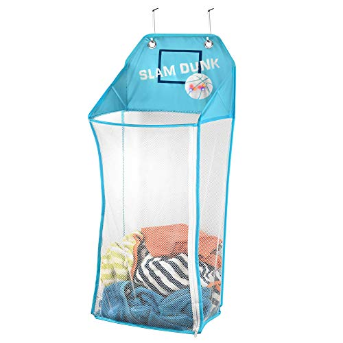 (Store & Score Over The Door Hanging Kids Fun LED Basketball Light-Up Collapsible Mesh Laundry Hamper Basket, Toy Chest, Heavy Duty Metal Hooks Included. Patent)