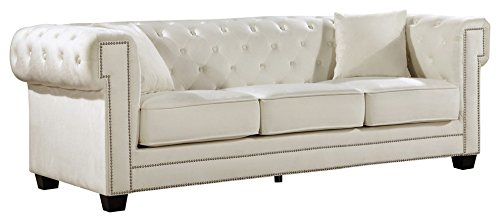 - Meridian Furniture 614Cream-S Bowery Button Tufted Velvet Upholstered Sofa with Square Arms, Nailhead Trim, and Custom Chrome Legs, Cream