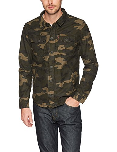 Levi's Men's Reverse Twill Cotton Swing Hooded Jacket, Army Green, Large (Twill Jacket Cotton Casual)