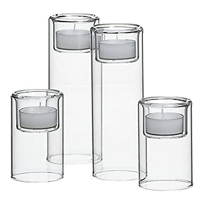 CYS EXCEL Pack of 6 Tealight Glass Candle Holders