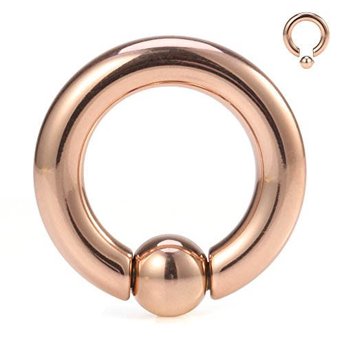 Ruifan Rose Gold Plated 316L Surgical Steel Spring Action Captive Bead Ring CBR 4G 1/2 Inch