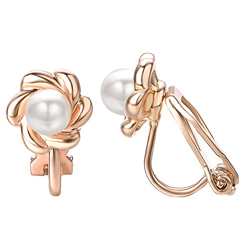 Yoursfs Clip earring Ivory pearl Round Earrings no Pierced Clip on Earring for Women ()