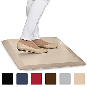 "The Original 3/4"" GORILLA GRIP (R) Premium Anti-Fatigue Comfort Mat, Perfect for Kitchen and Office Standing Desk, Ergonomically Engineered, 6 Colors and 3 Sizes, Non-Toxic, 32x20 inches (Beige)"