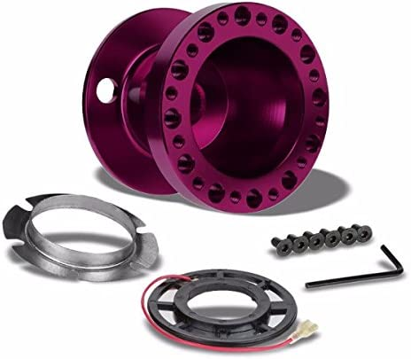 350MM 3 Purple Tri-Spoke//Purple Stripe Steering Wheel+Purple 6-Hole Hub Adapter+Purple Quick Release For 90-95 Accord CB CD//92-96 Prelude BA8//9