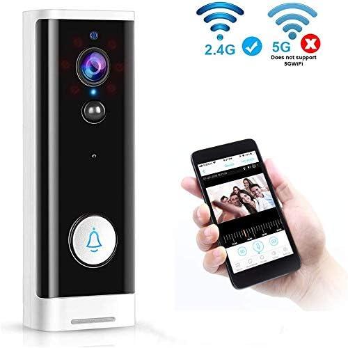 ワイヤレスチャイム ドアベル 可視ドアホン1080HDリアルタイムビデオ会話 ナイトビジョン機能 166度広角レンズ PIR動き検出 配線工事不要 Wi-Fi対応 防犯対策 防塵防水
