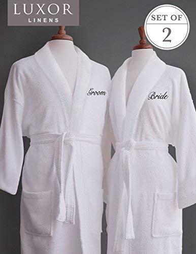 Groom Bath Bride - Luxor Linens Couple's Terry Cloth Bathrobe Egyptian Cotton Unisex One Size Fits Most Luxurious Soft Plush Elegant Script Embroider San Marco (Bride/Groom)