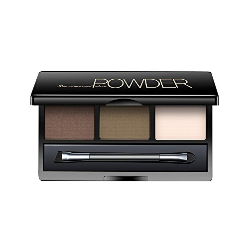 Hot AMarkUp Three-Dimensional Natural 3 Colors Face Eyebrow Powder Eye Shadow Palette with Double Sided Makeup Brushes Mirror Set (#01 Dark Brown) for sale