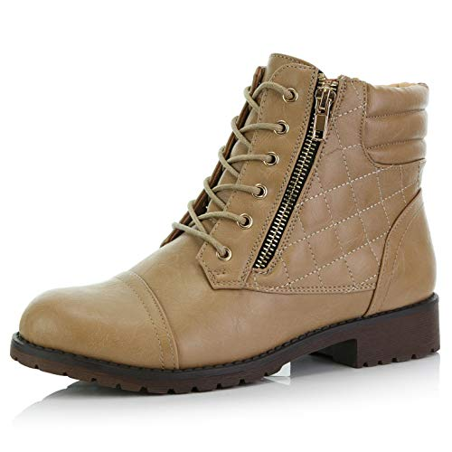 DailyShoes Women's Military Lace Up Buckle Combat Boots Ankle High Exclusive Credit Card Pocket, Beige Pu, 8