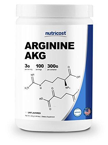 Nutricost Arginine AKG Powder 300 Grams (AAKG) - 3G Per Serving & 100 Servings - Pure Arginine Alpha Ketoglutarate Aakg Powder