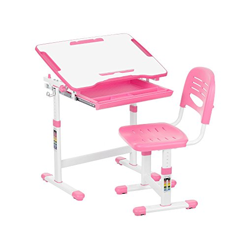 IKAYAA Height Adjustable Kid's Study Desk and Chair Set with Paper Roll Holder 0-40° by IKAYAA