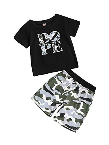 Baby Boy Clothes Short Sleeve Black T-Shirt + Camo Pants Toddler Outfits Set Black 2-Dope(2-3T) for $<!--$9.99-->