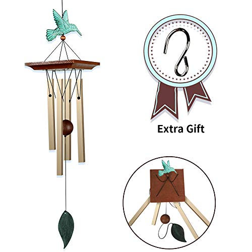 SIX FOXES Hummingbird Wind Chime Outdoor, Amazing Grace Tuned Wind Chimes with 4 Hollow Aluminum Metal Tubes & Hanging Hook for Home/Yard/Patio/Garden, Gift for Mom (Toned Hummingbird)