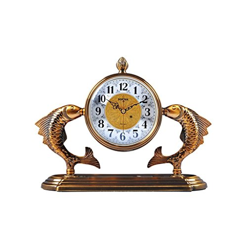 Health UK Clock- Clock Chinese Antique Classical 12-Inch Metal Copper Plated Desktop Clock Furnishings Ornaments Mute Sitting Bell Welcome by ZAZAZA