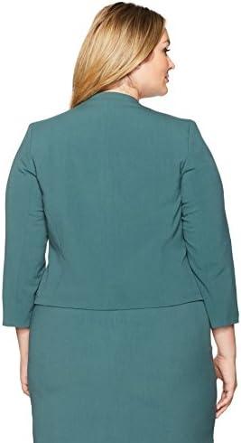 16W Nine West Womens Plus Size Wing Lapel Kiss Front Bi Stretch Jacket Patina