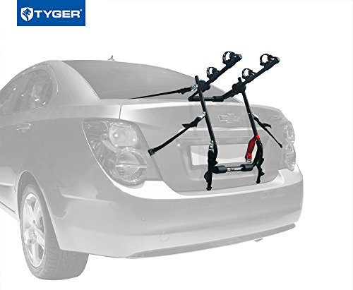 Tyger Auto TG-RK2B202B Deluxe Black 2-Bike Trunk Mount Bicyc