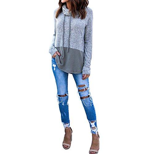 Damen Pullover Langarm Sweatshirt Hoodie Asymmetrisch Patchwork Kapuzenpullis Cowl Hals Oberteile Grau