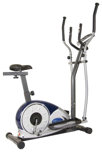 Body Champ 2 in 1 Cardio Dual Trainer Elliptical Workout and Upright Exercise Bike with Heart Rate Exercise Machine