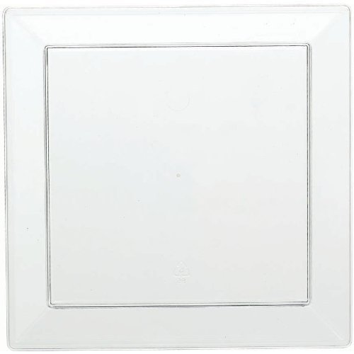 Amscan Party Perfect Reusable Mini Square Plates Tableware, Clear, Plastic, 5'' x 5'', Pack of 10 Others Supplies (120 Piece) by Amscan