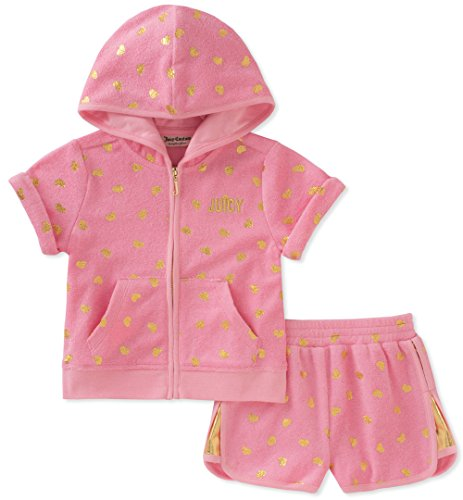 Juicy Couture Toddler Girls' 2 Piece Hoodie and Short Set, Pink, 3T