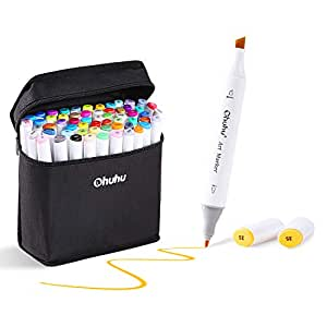 Ohuhu 80 Colors Dual Tips Permanent Marker Pens Art Markers Highlighters with Carrying Case for Drawing Sketching Adult Coloring Highlighting and Underlining