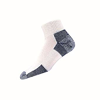 Thorlos Mens Running Thick Padded Ankle - Low Cut Socks JMX, White/Navy, Large (Shoe Size (9-12.5)