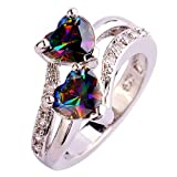 BSGSH Women's Engagement Ring Double Love Heart Mystic Rainbow Topaz Wedding Band Jewelry Gifts for Her (Multicolor, 8)