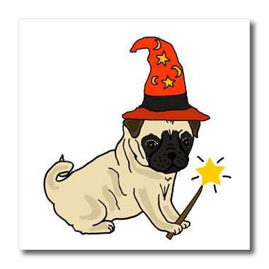 3dRose All Smiles Art Pets - Funny Cute Pug Dog Wizard Halloween Cartoon - 8x8 Iron on Heat Transfer for White Material (Pics Of Halloween Pugs)