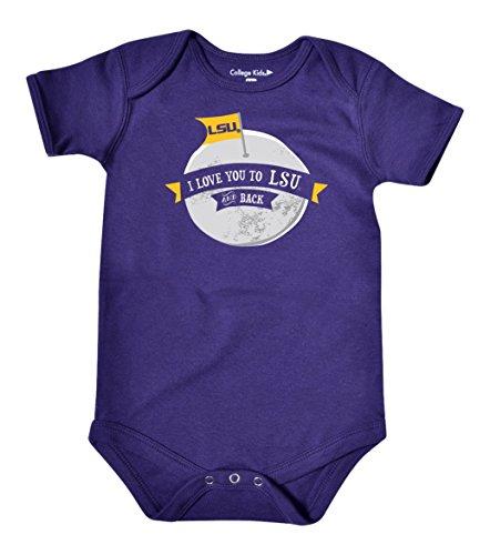 NCAA LSU Tigers Infant Short Sleeve Bodysuit, 0-3 Months, Purple
