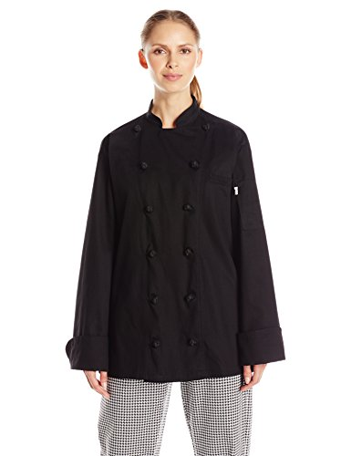 Uncommon Threads Unisex Executive Chef Coat, Black, Medium (Black Button Coat Knot)