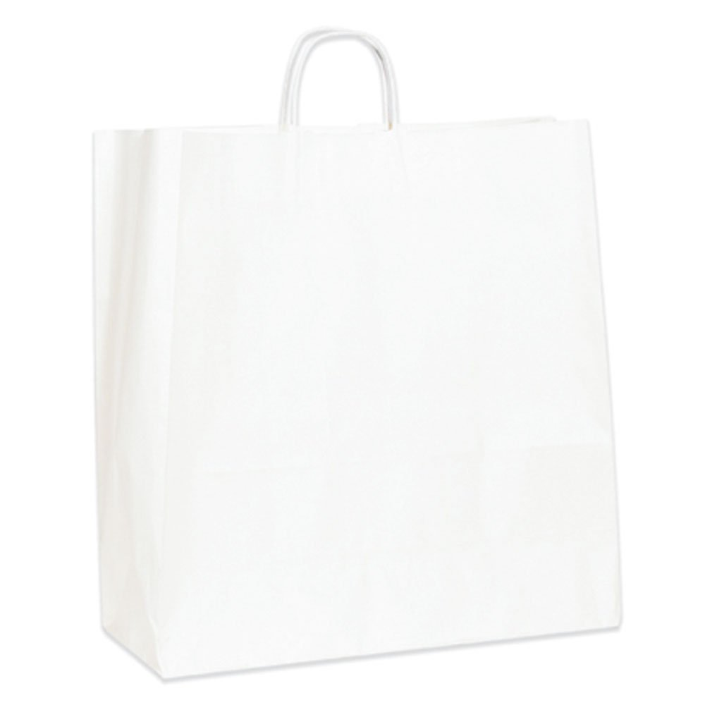 Aviditi BGS111W Paper Shopping Bag, 18'' Length x 7'' Width x 18-3/4'' Height, White (Case of 200)
