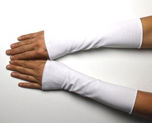 Lange Sommer Stulpen Baumwolle weiß 25 cm