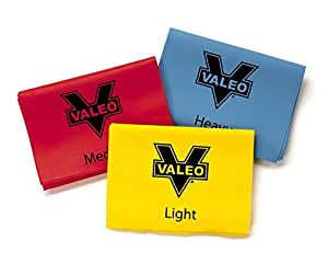 Valeo 4-Foot Long Stretch Exercise Resistance Bands, Pack of 3, Color Coded For Light, Medium, And Heavy-Duty Resistance For Physical Therapy, Pilates, Yoga, Strength Training Workout