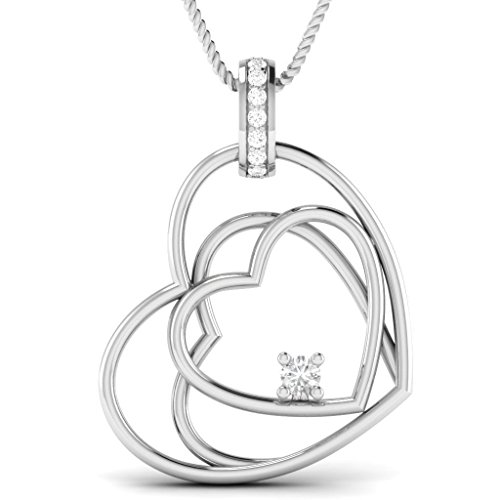 OMEGA JEWELLERY 0.11 Cttw Natural Diamond 10K White Gold Tripal Heart Solitaire Pendant (Chain Not ()