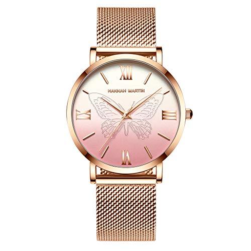 Women Watches Waterproof Stainless Steel Gradient Dial Mesh Bands Quartz Watch (Pink)