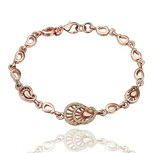 KnSam Women Gold Plate Charm Bracelets Teardrop Rose Gold [Novelty - Silver Clasp Necklaces Neoprene Sterling