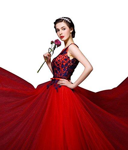 Lang Spitze Emily Tüll Spitze Dunkel Abendkleider Kleider Für Blau Elegant Rot Hochzeits Beauty Damen 0xZqZ4P