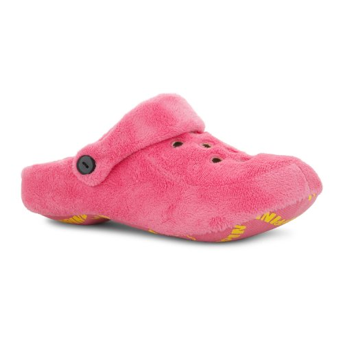 NEW LADIES COLOURFUL SOFT FLEECY CLOG STYLE COSY WARM SLIPPERS SLINGBACK STRAP Fuchsia f0d8ZwR
