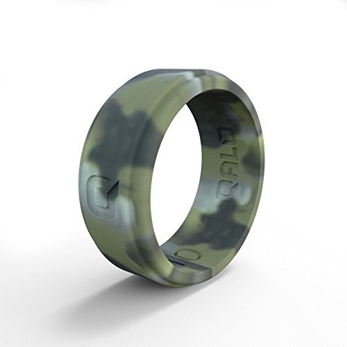 QALO Step Edge Men's Brush Camo Step Edge Q2X Silicone Ring, Camouflage, Size 10 (Camouflage Ring)