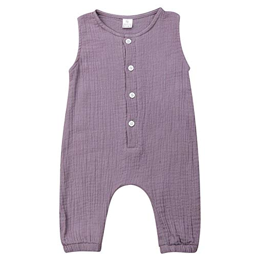 Baby Boys Girls Summer Sleeveless Romper Button Front Cotton Linen Jumpsuit Solid Color (0-3M, Light - Front Button Suit