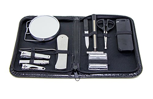 Men's Grooming Travel Set - Stay Well Groomed At Home and On The Go With This 12-piece Men's Travel Grooming Set – Mens Grooming Kit Featuring Tools In A Convenient Case
