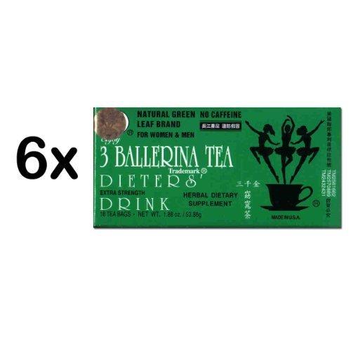 3 Alimentation Ballerina Tea Extra Strength pour hommes et femmes (6 boîtes x 18 Sacs)