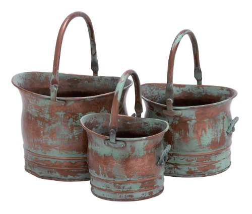 Cheap  Contemporary Metal Planter With Rustic Style In Green - Set Of 3