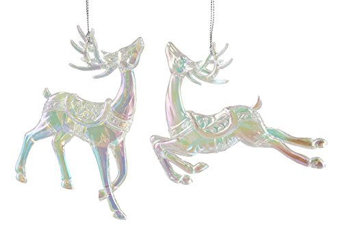 Prancing Deer (Prancing Iridescent Reindeer Hanging Christmas Ornaments - Set of 2)