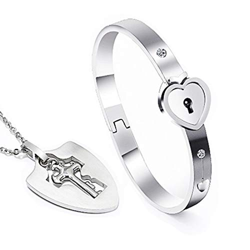 ZLY His & Hers Jewelry Matching Set, Couples Charm Key Necklace Lock Bracelet Set, Personalized Stainless Steel Jewelry Valentines Gift (Silver 02) - Heart Lock Bracelet