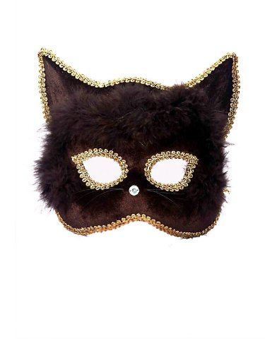 - Forum Marabou Kitty Venetian Mask, Black/Gold, One Size