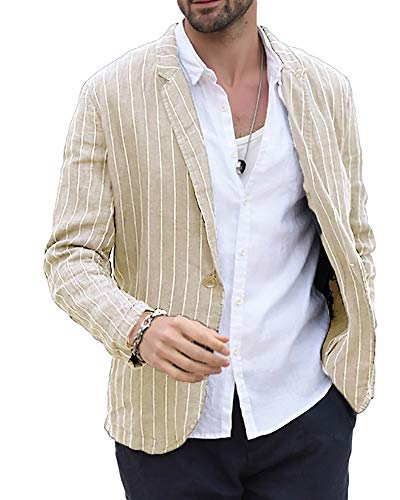 Striped Tailored Suit - Mens Linen Blazer Striped Casual Tailored Two-Button Suit Jacket Long Sleeve Sport Coat Beige