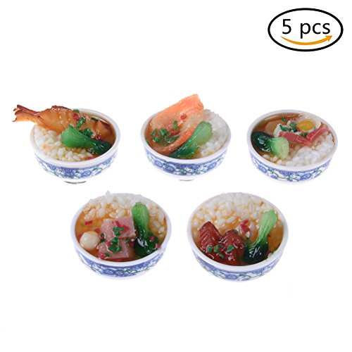 Price comparison product image IYSHOUGONG 5 PCS Miniature Food 3D Mini Bowl of Chinese Rice Toys Fridge Whiteboard Sticker Pin Button Food Models for Micro Landscape Doll House Decor