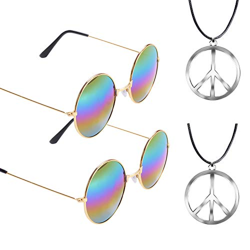 (eborder Hippie Dressing Accessory Sets 2 Pairs Hippie Glasses and 2 Pieces Metal Peace Sign)