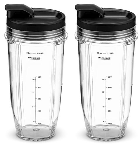 Nutri Ninja 24 oz. Tritan Cups with Sip & Seal Lids by NutriGear. Compatible with BL480, BL490, BL640, BL680 Auto IQ Series Blenders (Pack of 2) (Ninja Blender Cup)
