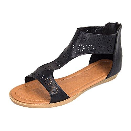 Spiaggia Cerniera Peep scarpe Sandali scarpe 43 Moda Casual Piattos Sandali Donna Nero Sandali Wuxi 36 Gladiator Romani Toe Da Piatto Scarpe Scarpe Estive Estive pROq0OwI